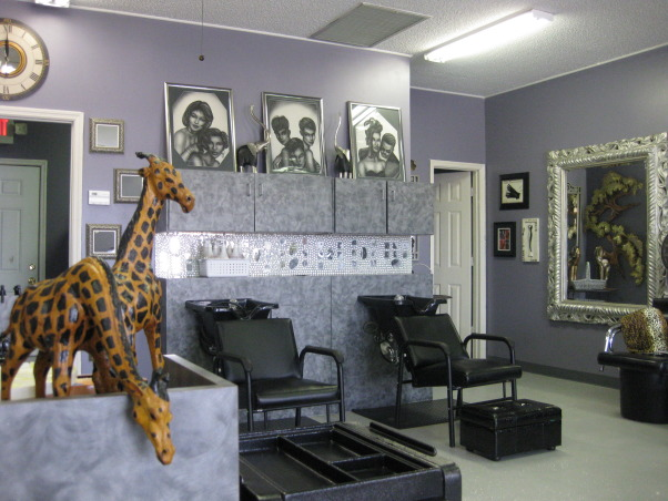 Beauty Salon, We totally reivented this space, Timberwolf Gray with Glaze  on walls, Painted Concrete Floors, greyish blue,we used silver glitter, and sealed with high gloss, Backsplash over shampoo bar, I used mirror tiles, marbles, three different colors of glitter glue and then I sealed it all, the decor is mostly from years of never throwing things away, {LOL, I am getting better about that} Hope you all enjoy., Other Spaces Design