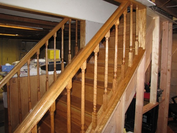 Basement Stair Replacement, Replaced existing basement stairs with completely custom hardwood stairs., New stairs - Side detail , Basements Design