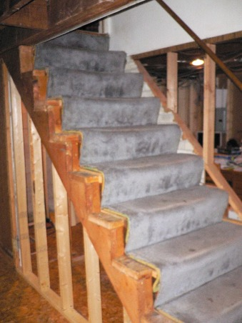 Basement Stair Replacement, Replaced existing basement stairs with completely custom hardwood stairs., Original Stairs , Basements Design