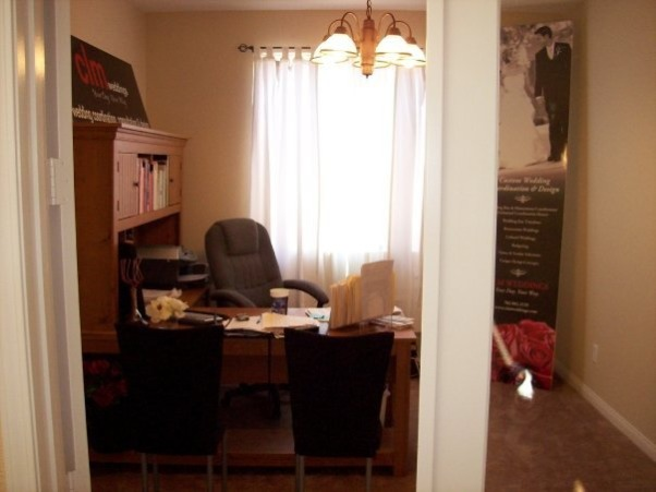 "CLM Weddings Home Office , Our home office has always been ""warm"" and matched our home... but did not truly represent our business and style.  The space is 11' x 13', Home Office BEFORE Taupe Colored Walls, Brown Office Furniture, Very Basic, Inexpensive Lighting Fixture, Home Offices"