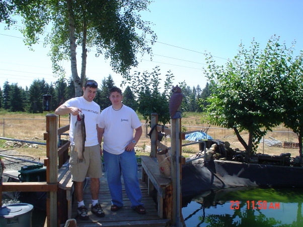 Trout pond DIY -- , Back-yard water garden project had gone wild -- My wife was on vacation and I started building a trout pond in our back-yard ... Was she ever surprised!, Our son Justin's high school friend had never caught a fish until today!, Yards Design