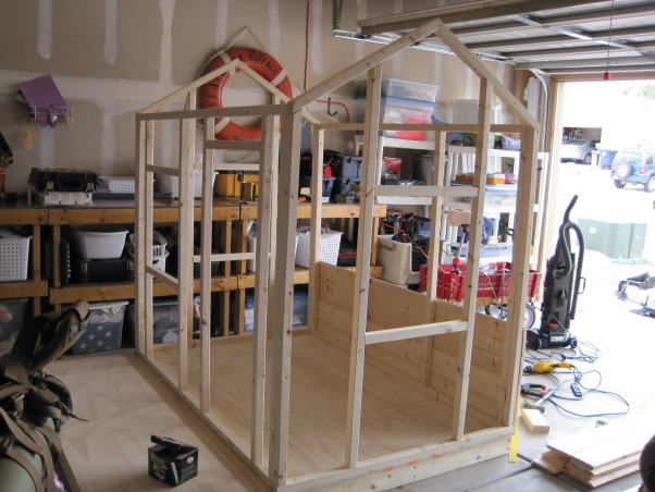 The Moveable Playhouse!, We are currently renting a house with a small backyard... I wanted to build a playhouse for my boys that could be completely taken apart and moved.  I also wanted something that would 'attract' rather than 'detract' from our exterior space.  I built it in the garage for two reasons... I knew it was going to be tricky working in the hot New Mexico sun and was worried about wood warping and second, it ensured that I would be able to take it apart.  Amazingly, I only had to cut off one misplaced screw in order to drop the walls and move it out!  The whole project took about two weeks working on a part time basis... now I've got a list of parents that would like me to help them build one for their kids in their backyards!, I chose tongue and groove siding because I like the way it looks...     , Other Spaces Design