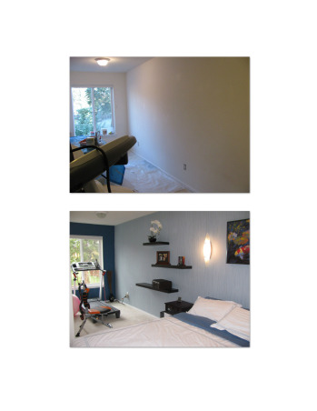 Combo Guest room, Man Cave, Gym, Odd shaped, very small unattractive room transformed in to a useable, invitiing space, this is an odd shaped, small combination room:  guest room, man cave or gym!  Cost of project:  $1000.  We love it!, Bedrooms Design