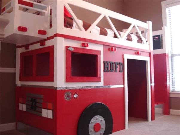 "Fire Truck Room, I built a Fire Truck bed for my son, he is crazy about Fire Trucks!  I modified a plan off of www.ana-white.com and am thrilled with how the bed turned out.  More pictures and step by step building on www.atouchofarkansas.com, I copied a ""aerial truck"" design so I could add the bucket on the front to hold stuffed animals., Boys' Rooms Design"