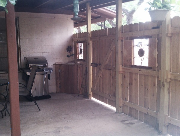 Carport to Patio, We wanted a place to smoke outside with privacy, avoid the dogs and hide the outside laundry room that was out on the carport.  So we fenced it up and made our little outside room and let the dogs and laundry have a part of it too., Other Spaces Design