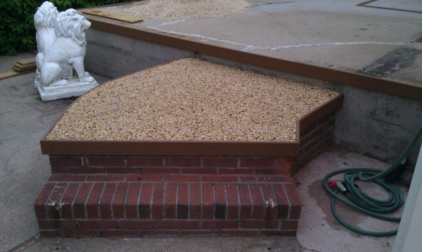 My own epoxy pebble beach, Beach Pebble epoxy patio, first area completed !!!     , Patios & Decks Design