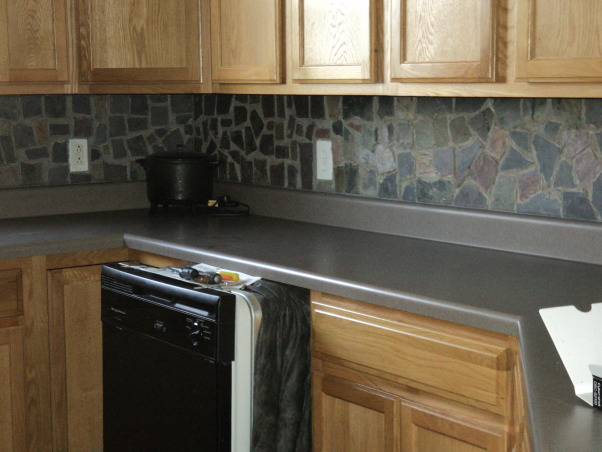 slate backsplash in my kitchen, Another view of slate tiles , Kitchens