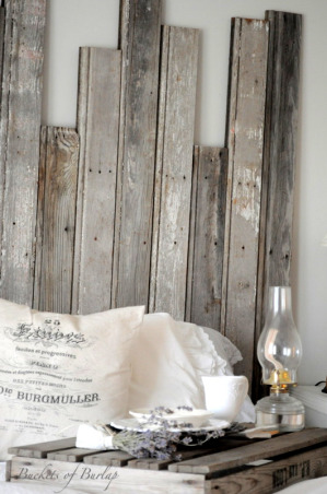 Rustic Romantic Master Bedroom, With soft gray walls and a DIY recycled headboard, this master bedroom has a rustic, yet romantic feel., DIY rustic, recycled barn wood headboard  , Bedrooms Design