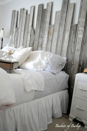 Rustic Romantic Master Bedroom, With soft gray walls and a DIY recycled headboard, this master bedroom has a rustic, yet romantic feel., DIY recycled barn wood headboard  , Bedrooms Design