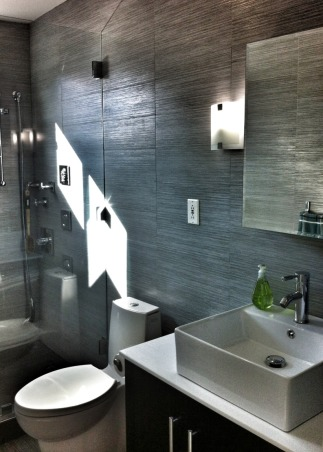 modern spa like bathroom 5x9 after floor to ceiling tiles frameless
