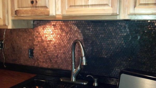 Copper Penny Back Splash, It does wipe off, I was supprised...    , Kitchens Design