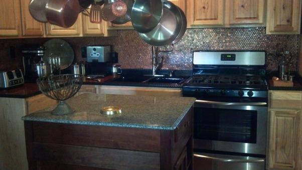 Copper Penny Back Splash, It took only 2 whole days    , Kitchens Design