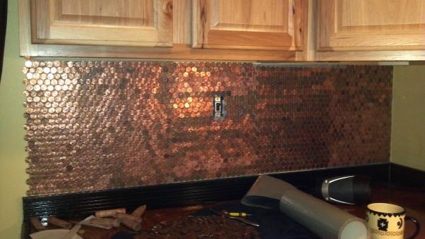 Copper Penny Back Splash, 1st wall done    , Kitchens Design