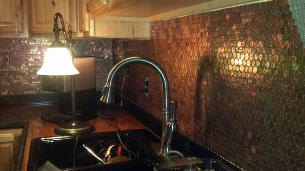 Copper Penny Back Splash, 2nd wall done    , Kitchens Design
