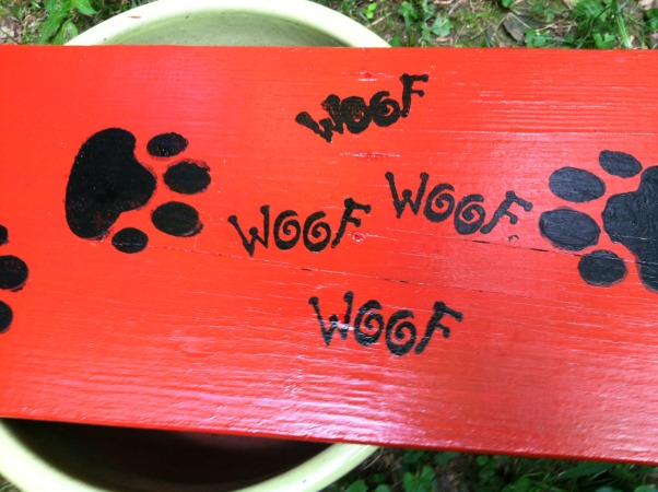 BENCH MARK, Before and after pics of 2 benches I fixed up for the 3 mile trail I take my dog thru. Its part of a res. community and my dog Bear plays with his buddies thru the trails. I made the new benches out of old stairs to reuse the treated wood. , Stencils were done with rustoleum in glossy black, Gardens Design