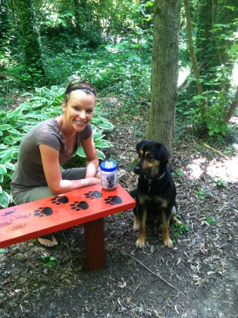 BENCH MARK, Before and after pics of 2 benches I fixed up for the 3 mile trail I take my dog thru. Its part of a res. community and my dog Bear plays with his buddies thru the trails. I made the new benches out of old stairs to reuse the treated wood. , The finished product installed along the trail. Thats me and my pup Bear, Gardens Design