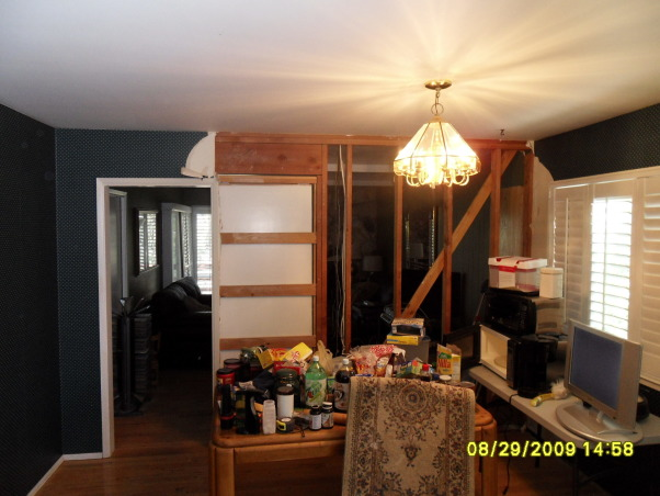 """Complete Remodeled Kitchen, We took down two walls and raised the ceiling 24"""". Original kitchen was only 14' x 12'. It is now, approximately 30' x 12'. We combined an old laundry room, dinning nook and kitchen to create a beautiful new kitchen with tons of space., The dinning nook next to the kitchen and small family room. Pocket door and wall will be removed., Kitchens Design"""