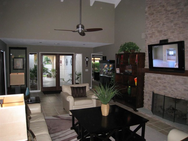 Great Room Remodel, Remodel of great room with bar, fireplace and vaulted ceilings., Great room and French Doors after remodel    , Living Rooms Design