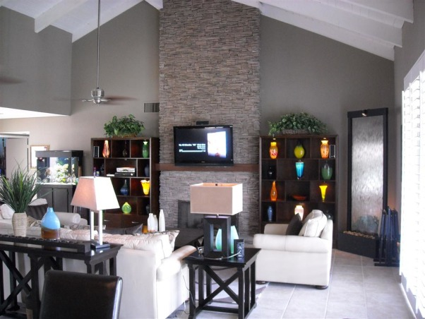 Great Room Remodel, Remodel of great room with bar, fireplace and vaulted ceilings., Fireplace wall after remodel    , Living Rooms Design