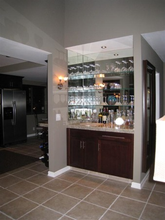 Great Room Remodel, Remodel of great room with bar, fireplace and vaulted ceilings., Bar after remodel  , Living Rooms Design