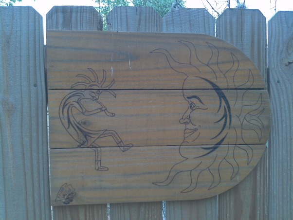 Fence With Windows, Fence with windows and working shutters to allow more or less wind flow.  I had planned to post the before pic but it is gone. We did build the fence to as it did not have one., This is on the large gate. I drew this and used a wood burner. I love fence art.  , Yards     Design