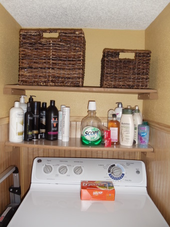 "Tight Laundry Room Makeover by LLDarling, 8' X 34"" Laundry Room. Added dryer pedistal and dryer box for added storage and ease of dryer accessibility. Beaded board and color added warmth to space., Dryer shelves after  , Other Spaces Design"