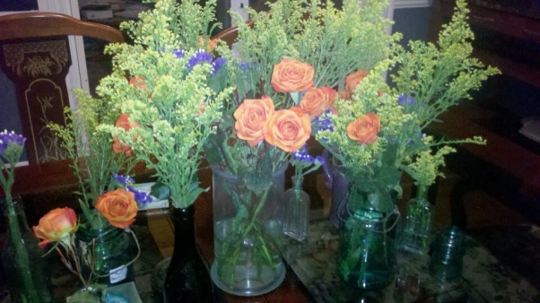Deep Hues of Blue, Gorgeous flower display for less than $15.00 - weedy, organic, deep hues      , Dining Rooms Design