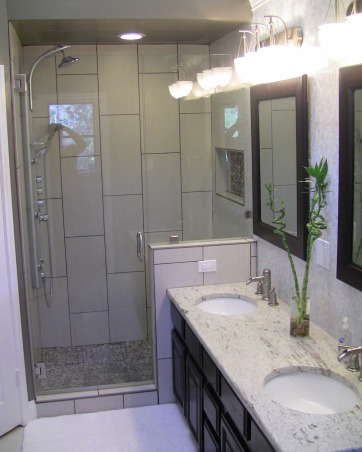 Master Bath Remodel, We had to update our master bath due to a shower leak.  This is what we came up with., another view of the vanity and shower., Bathrooms Design
