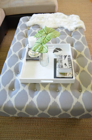 Tired Coffee Table, Our coffee table was looking blah and I was wanting to add some pattern to our living room, so my husband and I turned our coffee table into an ottoman. , ...And after, as an ottoman! My favorite DIY project so far!, Living Rooms Design