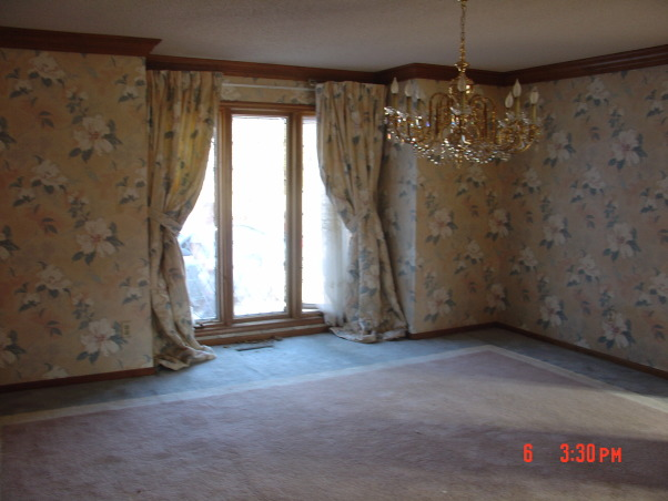 From Country Blue to Regal, Took out the raised floor and the over whelming wood openings. Removed the wall paper and popcorn ceiling, Matching wall paper and custom drapes     , Dining Rooms Design