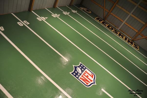 Alpern Field House, Garage flooring done with epoxy with football field design, Garages Design
