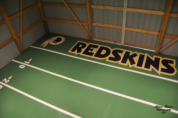 Alpern Field House, Garage flooring done with epoxy with football field design, Garages Design