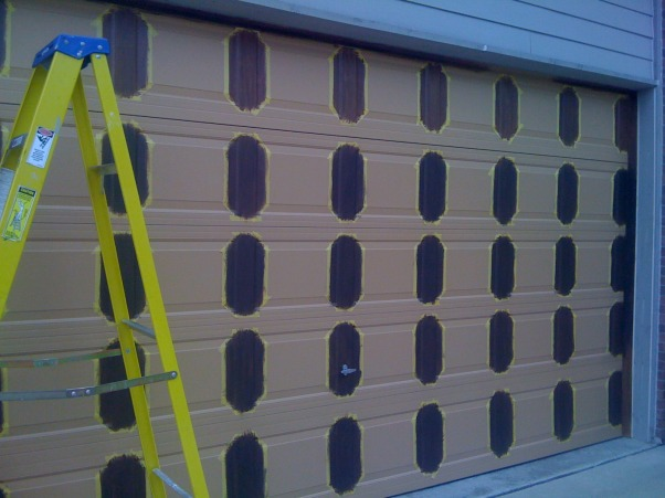 Amazing Faux Wood Garage Door, Painted aluminum garage doors to look like walnut wood. , One layer of brown paint, followed with a layer of 1 to 1 brown and black paint mixed together  , Garages Design