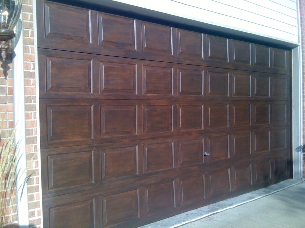 Amazing Faux Wood Garage Door, Painted aluminum garage doors to look like walnut wood. , Finished door http://sheilarichardson.blogspot.com/ , Garages Design