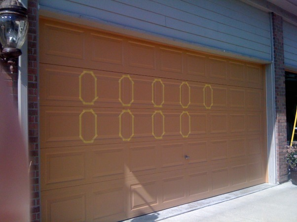 Amazing Faux Wood Garage Door, Painted aluminum garage doors to look like walnut wood. , started taping the vertical grain areas in order to make perfect miter joints and vertical brush strokes  , Garages Design