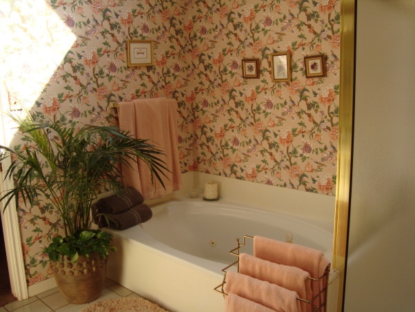 Master Bath , Updated from exotic wallpaper to serene and calm master bath, Before - exotic outdated wallpaper - sunglasses necessary when entering!     , Bathrooms Design