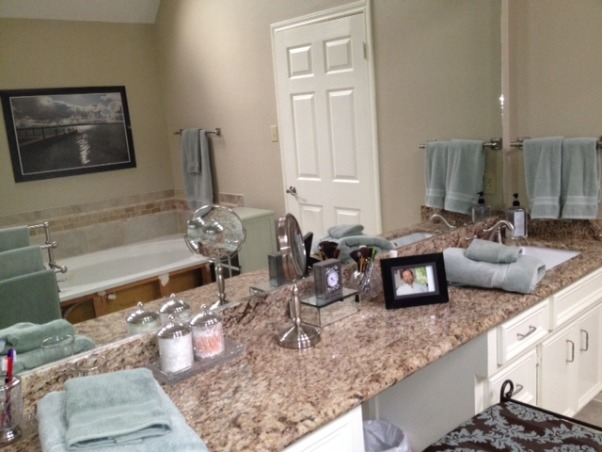 Master Bath , Updated from exotic wallpaper to serene and calm master bath, granite vanity top     , Bathrooms Design