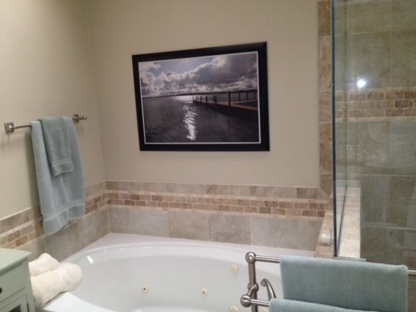 Master Bath , Updated from exotic wallpaper to serene and calm master bath, Relaxing lake photo    , Bathrooms Design