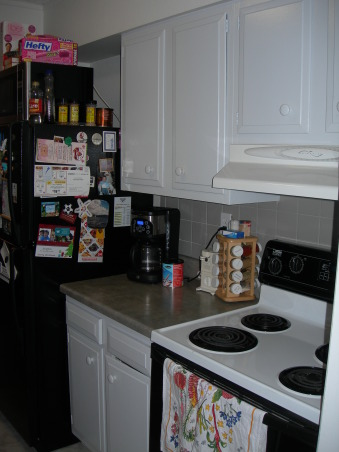 Gator's kitchen remodel, small galley kitchen with attached laundry area., Other side of kitchen. Microwave on top of refridgerator. , Kitchens Design