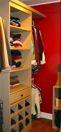 Closet Remodel , My husband built everything! He created this entire closet off our bedroom. This space used to be part of an enclosed back porch that was never used., The shelving unit my husband custom built , Closets Design