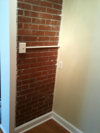 Closet Remodel , My husband built everything! He created this entire closet off our bedroom. This space used to be part of an enclosed back porch that was never used., We kept the original brick which at one time was the back part of the house , Closets Design