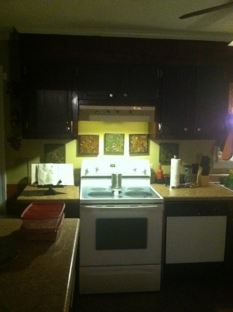 a work in progress, mix match discolored appliances, dark vinyl tiles, over stain cabinets, creeking floor, dark no light, seems cold, discolored apliances, Kitchens Design