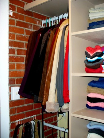 Closet Remodel , My husband built everything! He created this entire closet off our bedroom. This space used to be part of an enclosed back porch that was never used., A view of the brick again , Closets Design