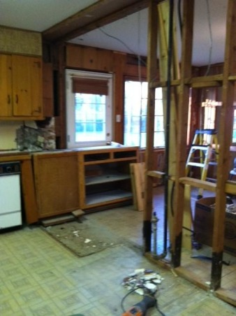 Dark Knotty pine to Bright white, We remodeled our 60's kitchen on our own. We took down walls and replaced just about everything., during remodel, Kitchens Design