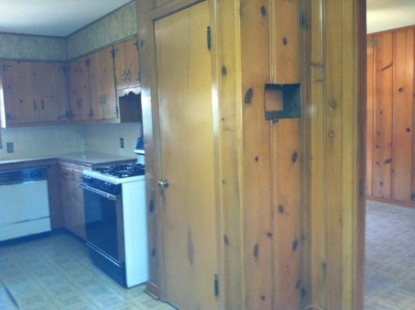 Dark Knotty pine to Bright white, We remodeled our 60's kitchen on our own. We took down walls and replaced just about everything., before remodel, Kitchens Design