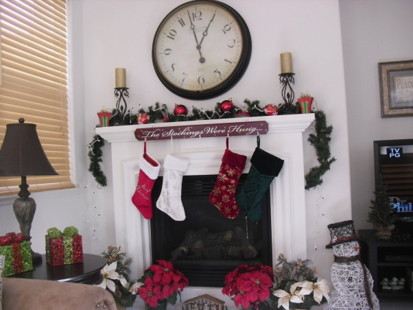 Mantel At Christmastime 2012, Christmas Mantel in Our Family Room 2012, And The Stockings were Hung.., Holidays Design