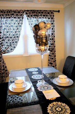 Classy Christmas, My decorations this Christmas - black, white, and mostly silver give it a chic look!, Dining Room Centerpiece - Goblet of bulbs!, Holidays Design