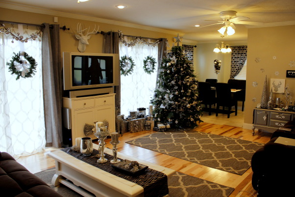 Classy Christmas, My decorations this Christmas - black, white, and mostly silver give it a chic look!, Our living room!, Holidays Design