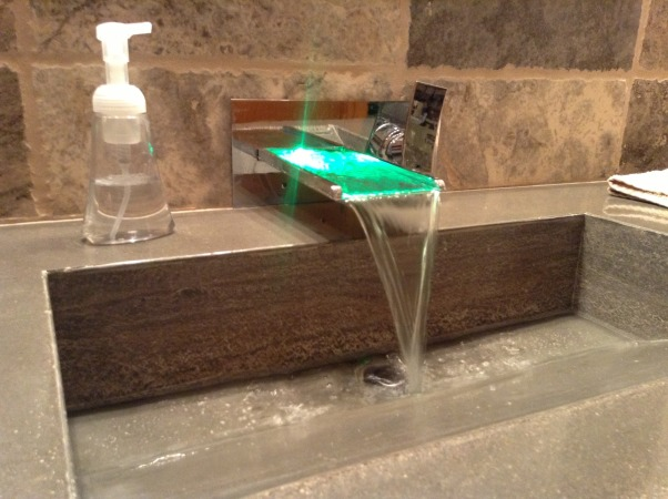 My home bar bathroom, Bathroom remodel job competed by myself with no help. Travertine tile, my home made concrete countertop with integrated sink, shower with light up rain shower head, , Turn red when hot, green when warm and blue when cold       , Bathrooms Design