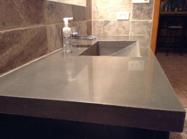 My home bar bathroom, Bathroom remodel job competed by myself with no help. Travertine tile, my home made concrete countertop with integrated sink, shower with light up rain shower head, , This was a major project. Concrete counter sanded polished and sealed       , Bathrooms Design